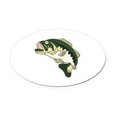LARGE MOUTH BASS Oval Car Magnet