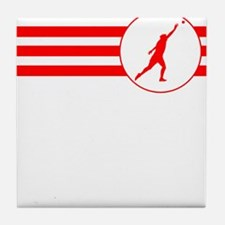Shot Put Stripes (Red) Tile Coaster