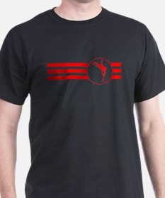Pole Vaulter Stripes (Red) T-Shirt
