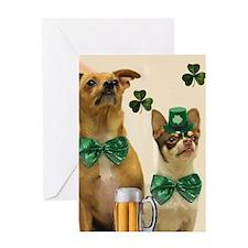 St. Patricks Day Chihuahuas Greeting Card