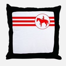 Equestrian Stripes (Red) Throw Pillow