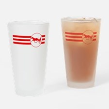 Harness Racing Stripes (Red) Drinking Glass