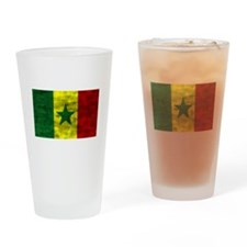 Distressed Senegal Flag Drinking Glass
