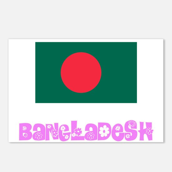 Bangladesh Flag Pink Flow Postcards (Package of 8)
