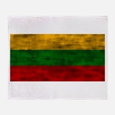 Distressed Lithuania Flag Throw Blanket