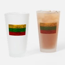 Distressed Lithuania Flag Drinking Glass