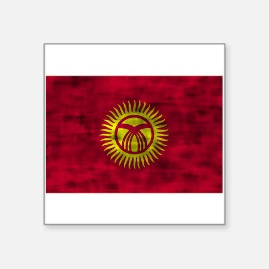 Distressed Kyrgyzstan Flag Sticker