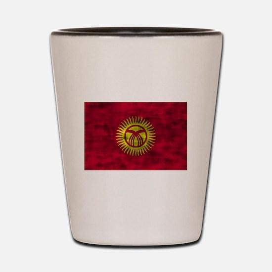 Distressed Kyrgyzstan Flag Shot Glass