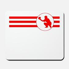 Baseball Catcher Stripes (Red) Mousepad