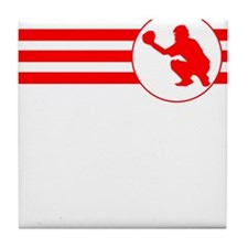 Baseball Catcher Stripes (Red) Tile Coaster