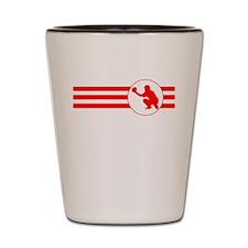 Baseball Catcher Stripes (Red) Shot Glass