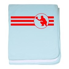 Baseball Catcher Stripes (Red) baby blanket