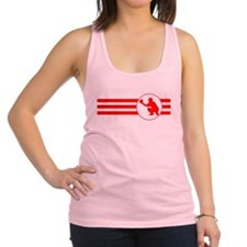 Baseball Catcher Stripes (Red) Racerback Tank Top