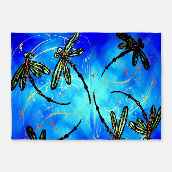 Dragonfly Flit Electric Blue 5'x7'Area Rug
