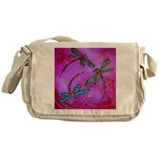 Dragonfly Flit Electric Pink Messenger Bag