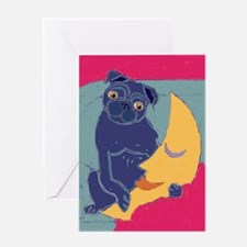 Pug and Moon Greeting Card