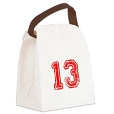 13-Col red Canvas Lunch Bag