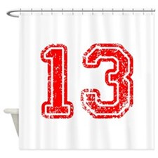 13-Col red Shower Curtain
