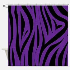 Zebra Stripes Purple Shower Curtain