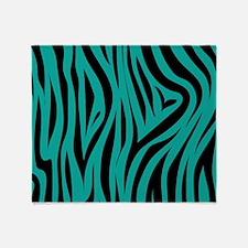 Zebra print teal stripes Throw Blanket