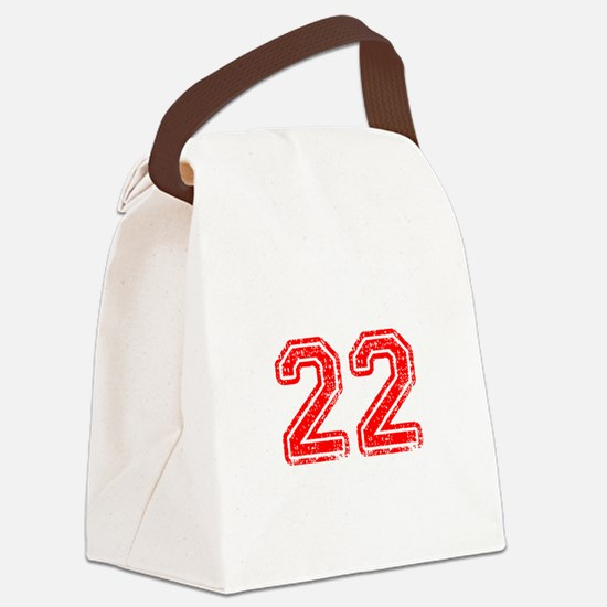 22-Col red Canvas Lunch Bag