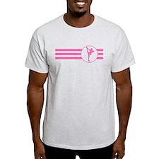 Figure Skate Stripes (Pink) T-Shirt