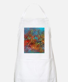 Abstract in Turquoise, Red, Yellow, Black Apron