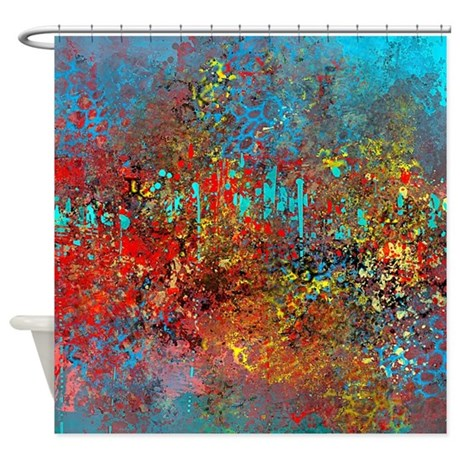 Abstract In Turquoise Red Yellow Shower Curtain By Listing Store 113075623