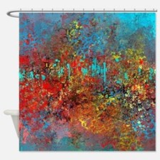 Abstract in Turquoise, Red, Yellow, Shower Curtain