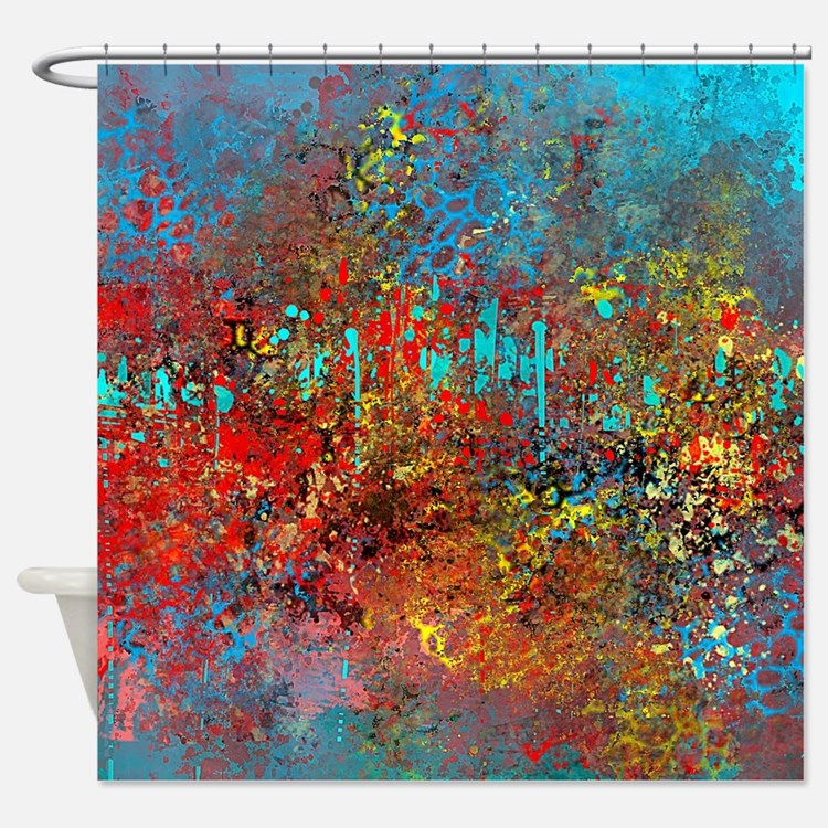 Turquoise Red Yellow Shower Curtains Turquoise Red
