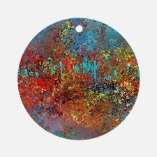 Abstract in Turquoise, Red, Yellow, Round Ornament