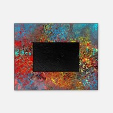 Abstract in Turquoise, Red, Yellow,  Picture Frame