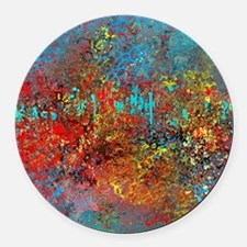 Abstract in Turquoise, Red, Yello Round Car Magnet