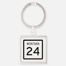 Highway 24, Montana Square Keychain