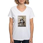 VINTAGE PUPPY DOG ART Women's V-Neck T-Shirt