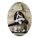 VINTAGE PUPPY DOG ART Oval Ornament
