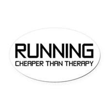 Running Therapy Oval Car Magnet