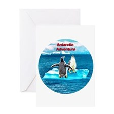 Antarctic Icebergs and penguins - Greeting Card