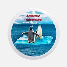 Antarctic Icebergs and penguins - Ornament (Round)