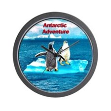 Antarctic Icebergs and penguins - Wall Clock