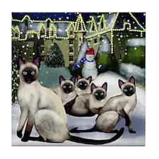 Siamese Cats Tile Coaster