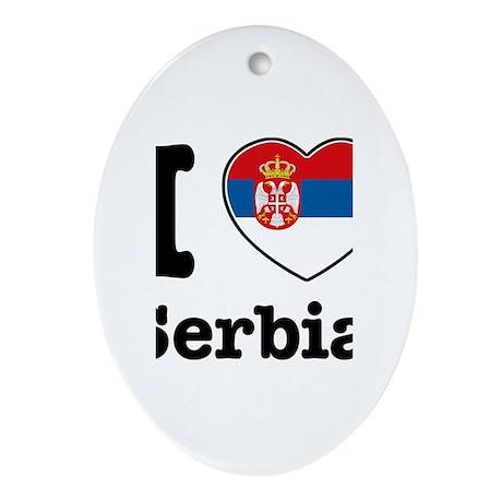 I love Serbia Oval Ornament