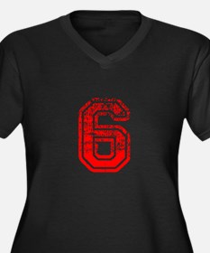 6-Col red Plus Size T-Shirt