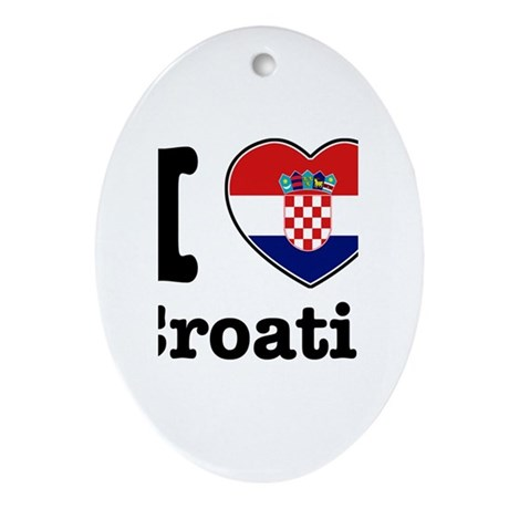 I love Croatia Oval Ornament