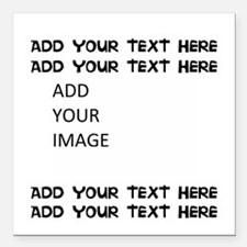 "Custom Text And Image Square Car Magnet 3"" X"
