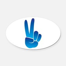 Peace Sign Oval Car Magnet