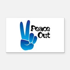 Peace Out Rectangle Car Magnet