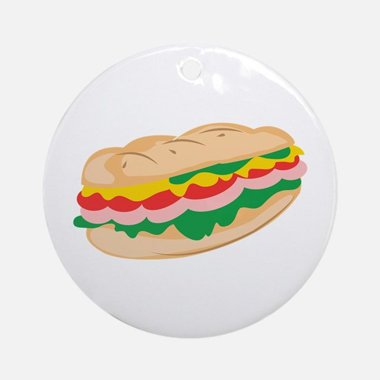 Sub Sandwich Ornament (Round)