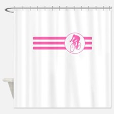 Cyclist Stripes (Pink) Shower Curtain