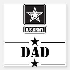 "U.S. Army Dad Square Car Magnet 3"" x 3"""